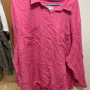 Pink striped button down blouse Ava and Viv 4X